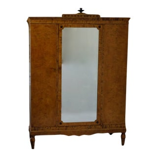 19th Century Biedermeier Satin Birch Wardrobe For Sale