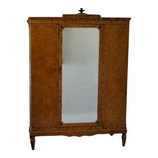 19th Century Biedermeier Satin Birch Wardrobe For Sale
