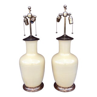 Yellow Porcelain Christopher Spitzmiller Lamps - a Pair For Sale