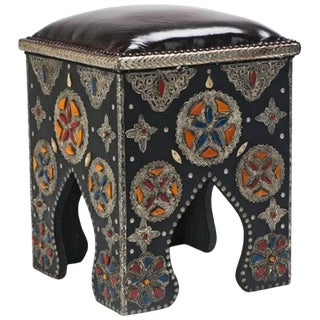 Moroccan Leather Black and Multi-Colored Bone Moroccan Stool For Sale