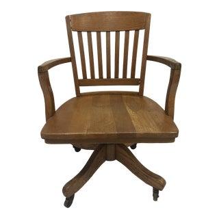 Vintage Industrial Wood Swivel Banker Chair For Sale