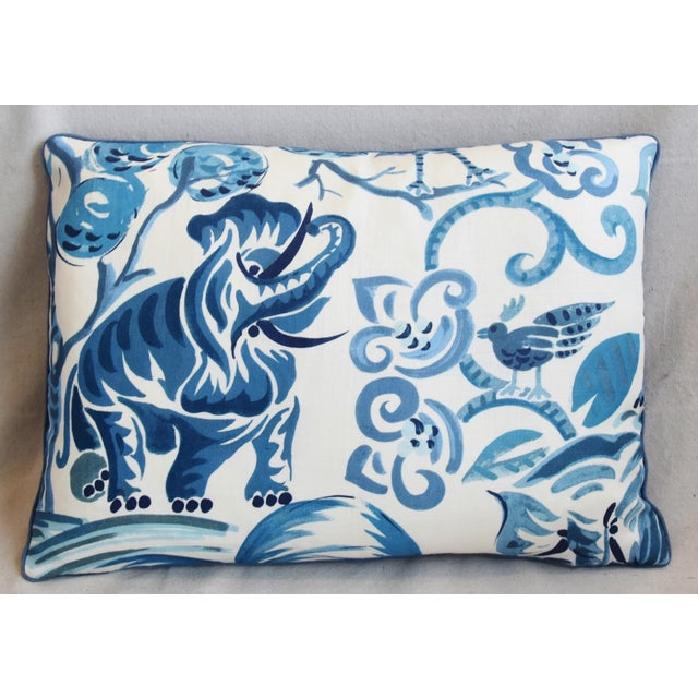 """Boho Chic P. Kaufmann Blue & White Animal Feather/Down Pillows 22"""" X 16"""" - Pair For Sale - Image 3 of 13"""
