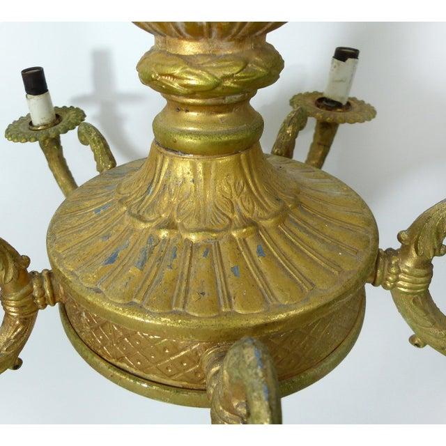 Vintage Gilt Gold Chandelier For Sale - Image 5 of 8