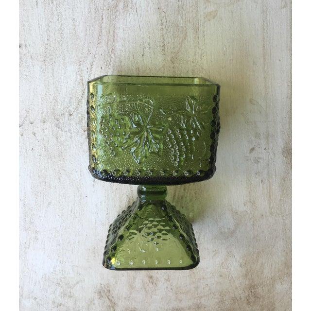 Vintage Green Glass Grapes Pedestal Planter - Image 6 of 7
