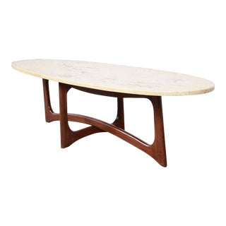 Adrian Pearsall for Craft Associates Sculpted Walnut Marble Top Surfboard Coffee Table, 1960s For Sale