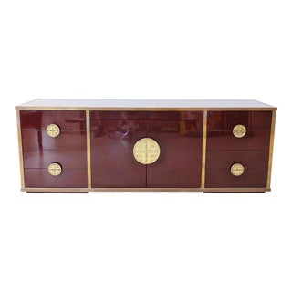 Giacomo Sinopoli for Liwan's of Rome, Italy Bronze Asian Hardware Credenza Sideboard, 1972 For Sale
