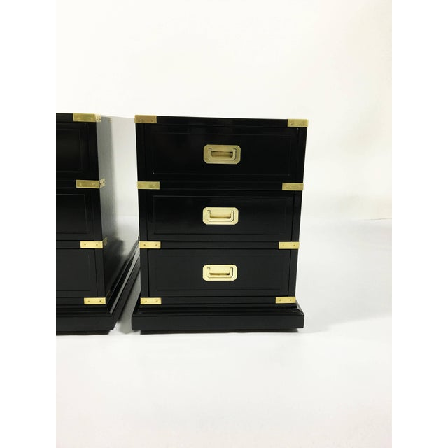 Brass Pair of Campaign Style Lacquered Side Tables For Sale - Image 7 of 10