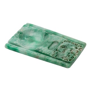 Ink-stone, Chinese Green Jadeite For Sale