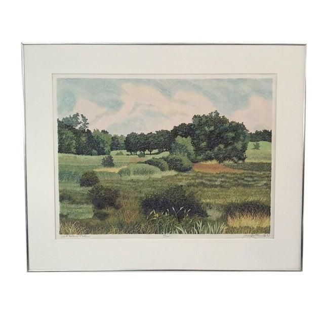 West Baker Park Color Woodcut by Mortensen For Sale