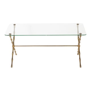 Brass Bamboo Coffee Table With Glass Top, C. 1960
