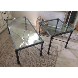 Wrought Iron & Glass Top Coffee & Side Table - 2 Piece Set Preview