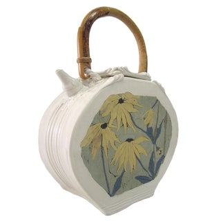 Porcelain Teapot With Flowers and Bamboo Handle