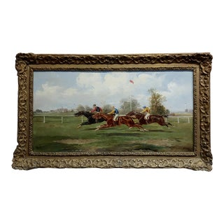 19th Century Horse Race - Oil Painting For Sale
