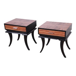 Zebrawood and Ebonized Saber Leg Nightstands, Pair For Sale