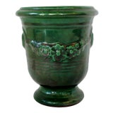 Image of Green Ceramic Peonies Vase For Sale