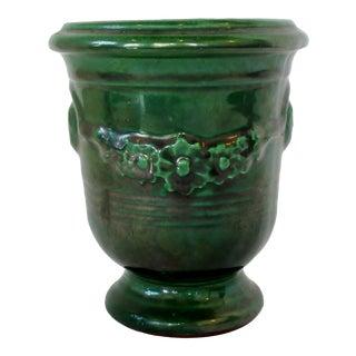 Green Ceramic Peonies Vase For Sale