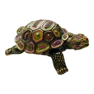 Arts and Crafts Jay Strongwater Turtle Figurine Box For Sale