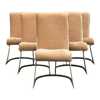 Mid Century Pierre Cardin Z-Back Brass Dining Chairs - Set of 6 For Sale
