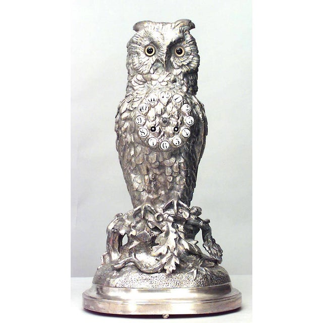 Mid 19th Century English Victorian Silver-Plated Owl Design Clock and Pair of Candelabra For Sale - Image 5 of 10