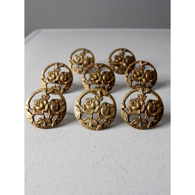 Mid-Century Modern Vintage Brass Napkin Rings - Set of 8 For Sale - Image 3 of 10