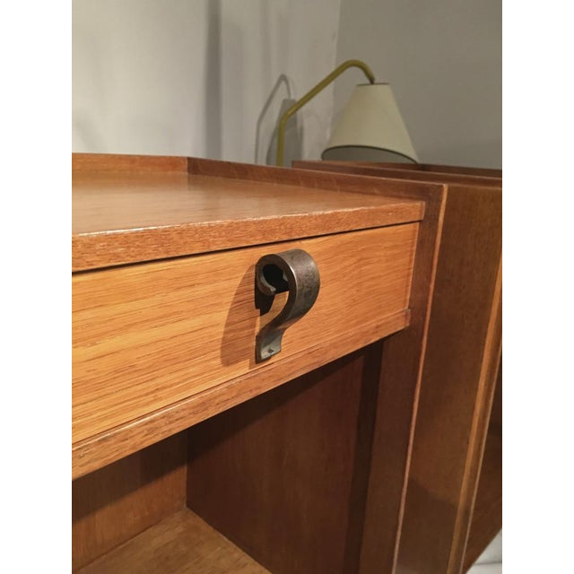 Contemporary Superb Pair of Oak Bedsides With Pure Design and Original Iron Handle For Sale - Image 3 of 6