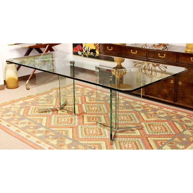 Vintage Pace Mid Century Modern Sculptural Rectangular Glass Chrome Dining Table For Sale - Image 12 of 12