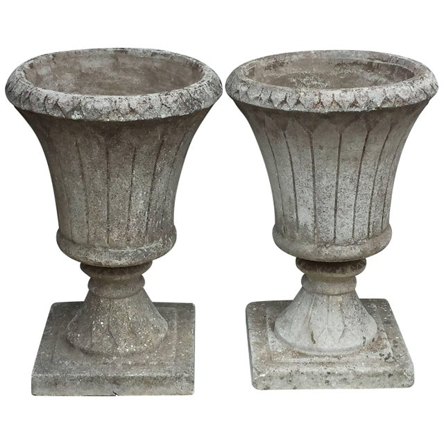 English Garden Stone Urns - a Pair For Sale - Image 11 of 11