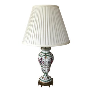Ceramic Painted Lamp With Cream Silk Shade For Sale