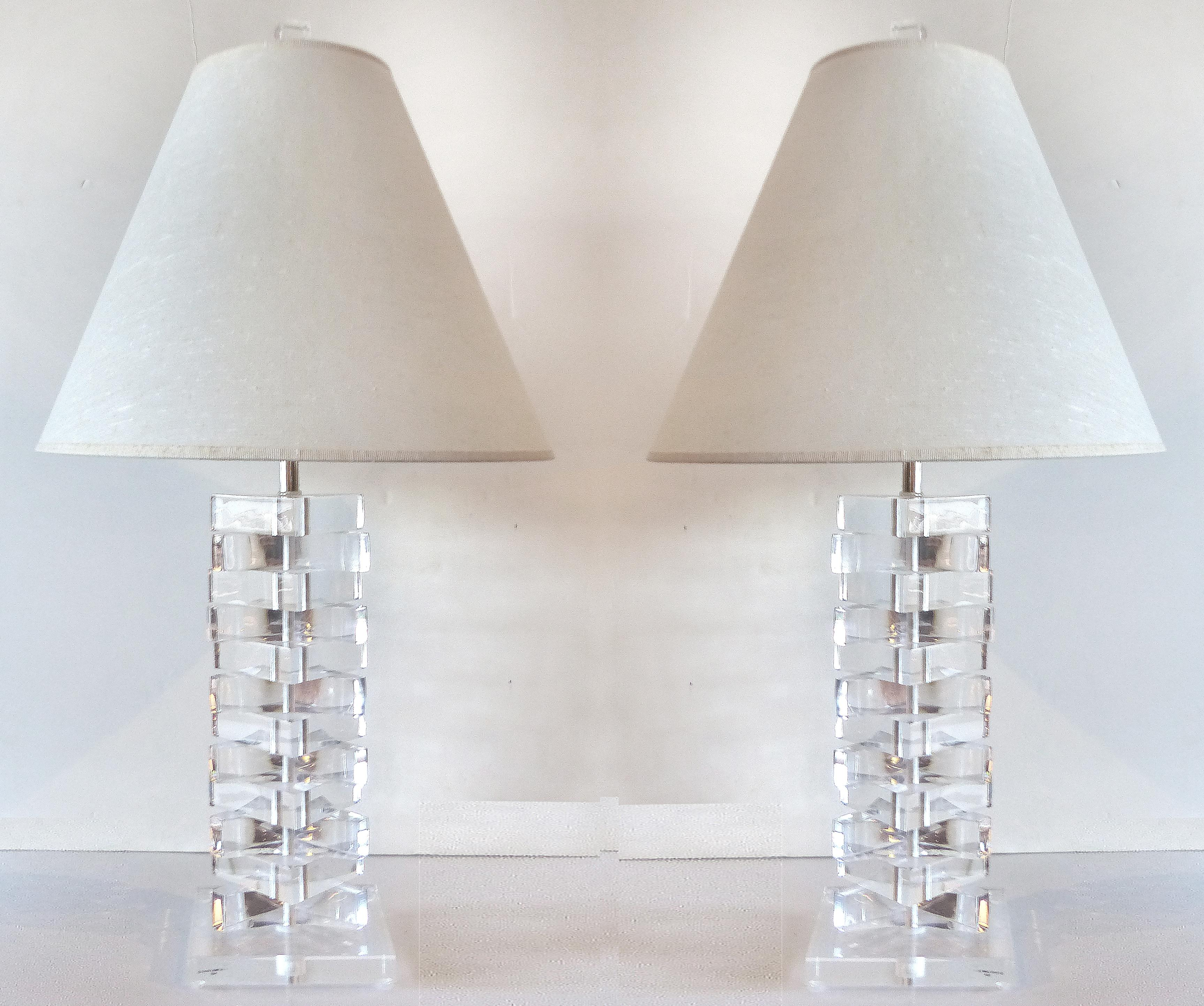 Bon Bauer Stacked Lucite Table Lamps   Pair   Image 2 Of 11