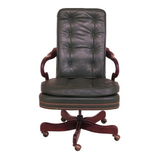 Hancock & Moore Tufted Green Leather Office Chair