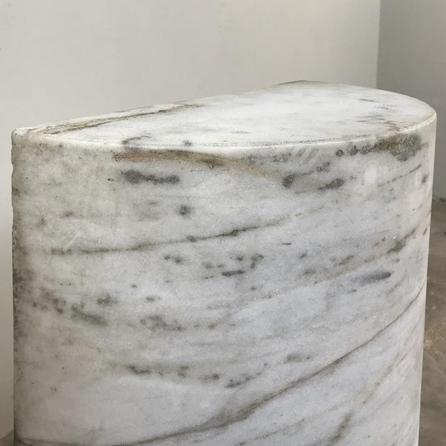White Pair Antique Solid Marble Half-Columns ~ Pedestals For Sale - Image 8 of 13