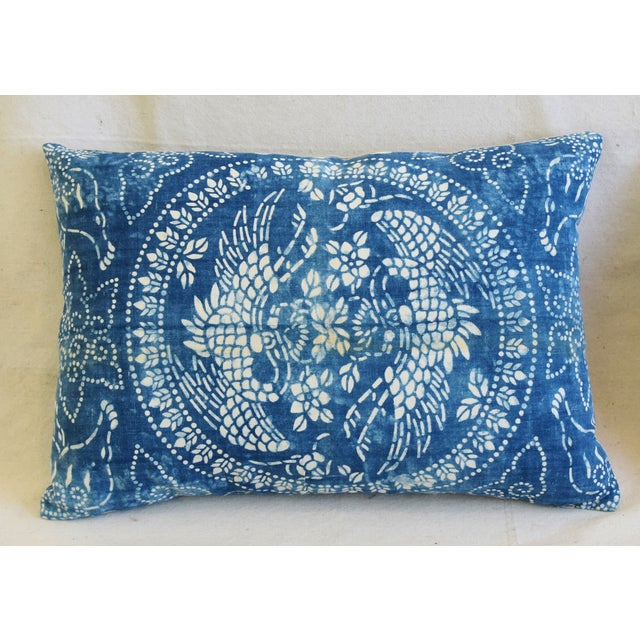 "Asian Blue & White Shanghai Batik Chinoiserie Feather/Down Pillows 23"" X 16"" - Pair For Sale - Image 3 of 11"