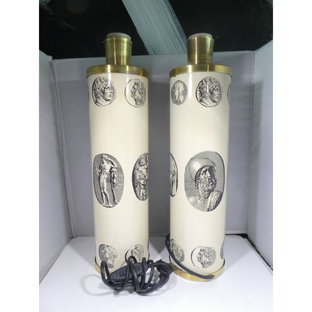 Piero Fornasetti Mid Century Fornasetti Neoclassical Cameo Lamps-A Pair For Sale - Image 4 of 13