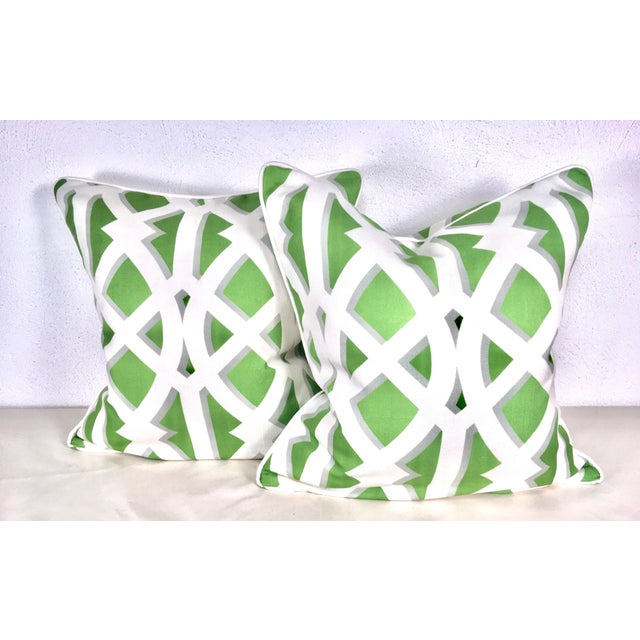 Modern Cotton Geometric Pillows – a Pair For Sale - Image 4 of 10