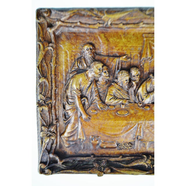 Religious Vintage Last Supper Resin Wall Plaque For Sale - Image 3 of 12