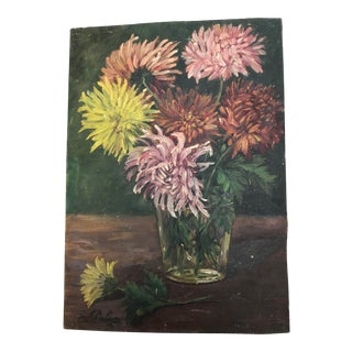 Vintage French Floral of Mums Painting