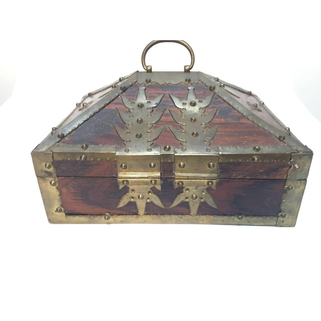 Ethnic Indian Decorative Jewelry Box With Brass, Kerala Nettur Petti For Sale - Image 10 of 10
