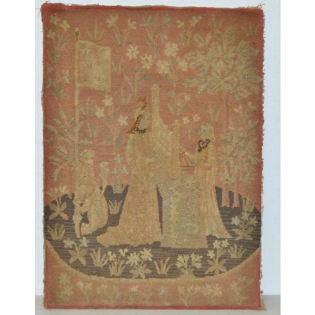 Victorian English Embroidered Tapestry c.1900 For Sale - Image 5 of 5