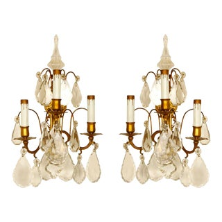 French 3-Light Bronze and Crystal Sconces - A Pair For Sale