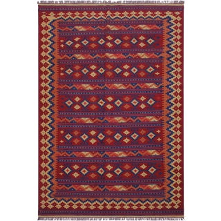 Navajo Style Kilim Kathalee Red/Blue Hand-Woven Wool Rug- 6′4″ × 9′7″ For Sale
