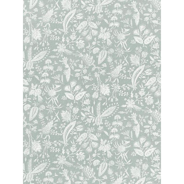 Sample, Scalamandre Tulia Linen Print, Mineral Fabric For Sale