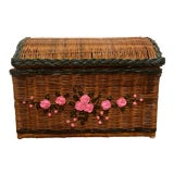 Image of 1960s Vintage Boho Wicker Painted Chest With Pink Floral Pattern and Leather and Wood Handles For Sale