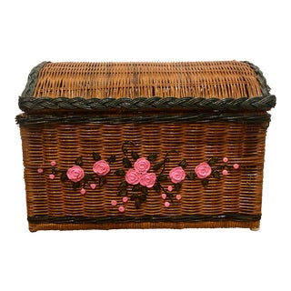 1960s Vintage Boho Wicker Painted Chest With Pink Floral Pattern and Leather and Wood Handles For Sale