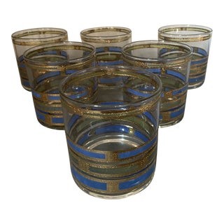 Mid-Century Modern Blue, Green and Gold Rocks Glasses - Set of 6 For Sale