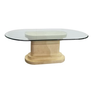 Faux Parchment Pedestal & Racetrack Glass Dining Table in the Manner of Karl Springer For Sale