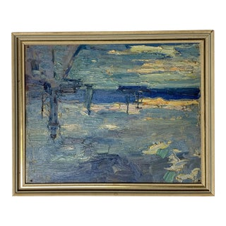 Vintage Harbor Scene as Sun Sets Oil Painting by Frank Hutchins For Sale