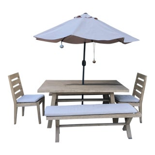"West Elm Mid-Century Modern ""Jardine"" Driftwood Outdoor Dining Set For Sale"