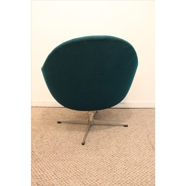 Danish Mid-Century Modern Overman Style Swivel Chrome Base Pod Chair For Sale - Image 5 of 11