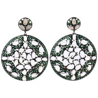 Tsavorite White Topaz Diamond Silver Gold Dangle Earrings For Sale