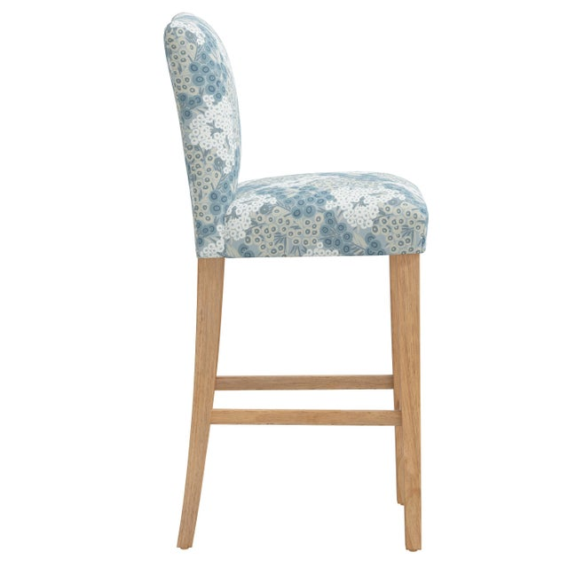 Transitional Bar stool in Loiret Blue For Sale - Image 3 of 8